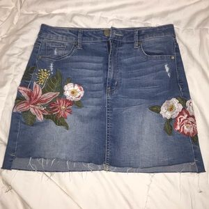 Floral Embroidered Denim Miniskirt